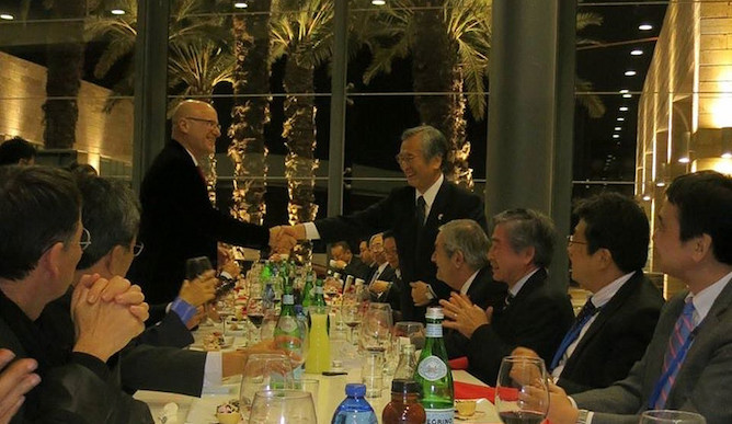 Yoshiyu Nakamura, head of Japan's Keidanren business federation, with Japan-Israel Chamber of Commerce Chairman Roni Bernstein at the Japanese ambassador's residence in Herzliya, Israel, last October.