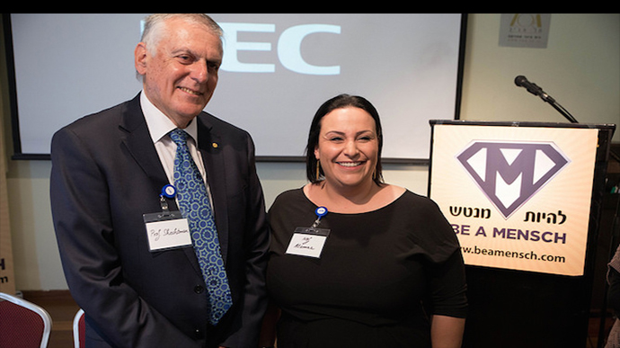Nobelist Prof. Dan Shechtman with Master Chef champion and microbiologist Nof Atamna-Ismaeel at the Mensch Foundation kickoff in Tel Aviv. Photo by Doni Lerner/Doni Digital