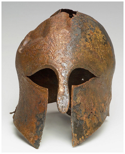 Photo of ancient helmet courtesy of Israel Antiquities Authority.