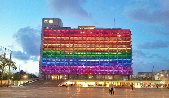 Tel Aviv Municipality goes rainbow in honor of Gay Pride Tel Aviv.