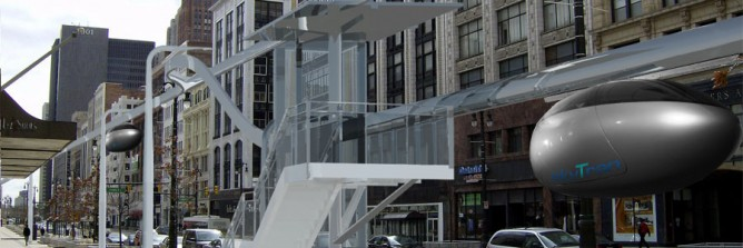 Rendering of a skyTran station courtesy of www.skytran.us.