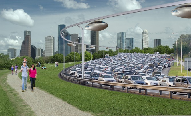 The skyTran system will soar above cars stuck in traffic.
