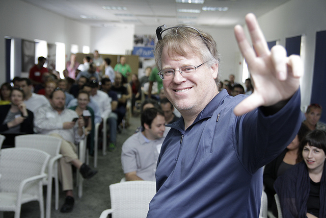 Tech evangelist Robert Scoble at Jerusalem Venture Partners. Photo by Kobi Natan