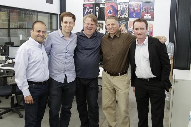 From left, JVP Partner Yoav Tzruya, Nir Kouris, Robert Scoble, JVP Partner Uri Adoni and wearable computing/IoT strategist Julien Blin. Photo by Kobi Natan