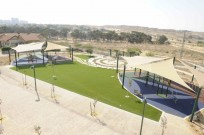An outdoor recreation area at Kfar Ha'irusim stands empty during the war.