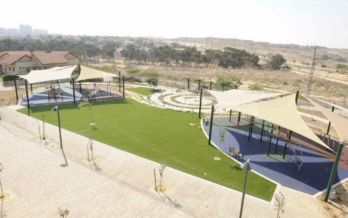 An outdoor recreation area at Kfar Ha'irusim stands empty during the war.