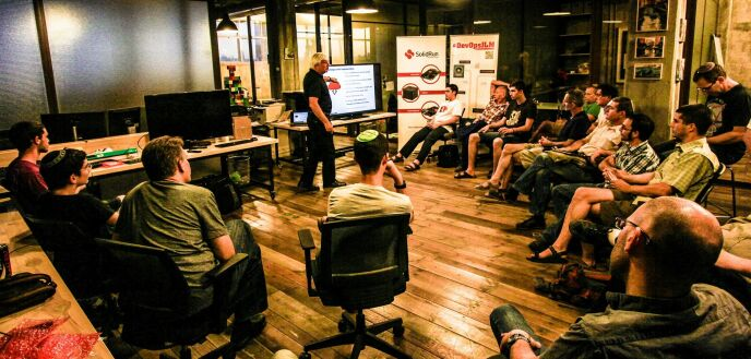 "DevOpsJLM's ""IoT Jerusalem"" event on June 26, 2014. Photo by Nadav Lankin"