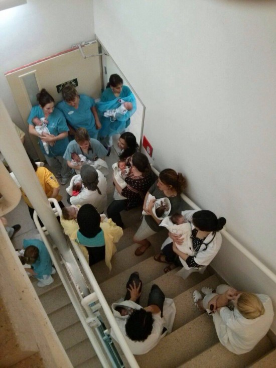 Petach-Tikvas Schneider Childrens Hospital during a Gaza rocket attack