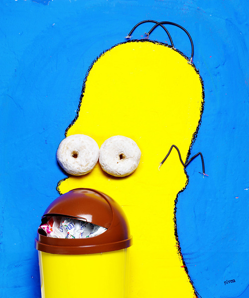 Piven's portrait of Homer Simpson for Rolling Stone.