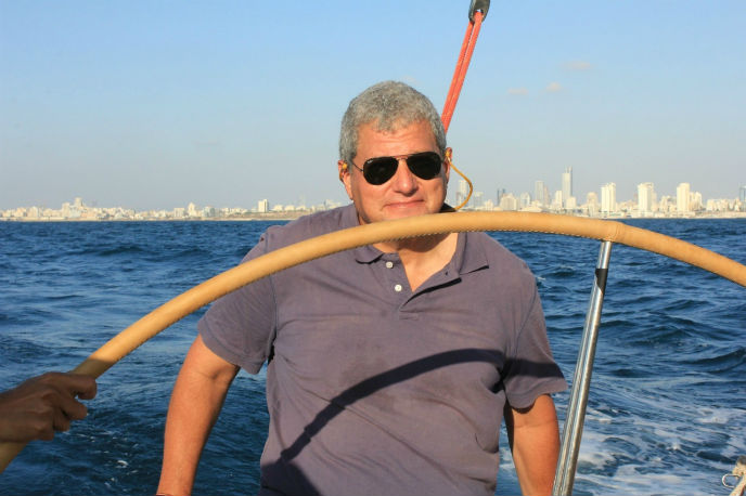 Eric Sirkin on his sailboat.