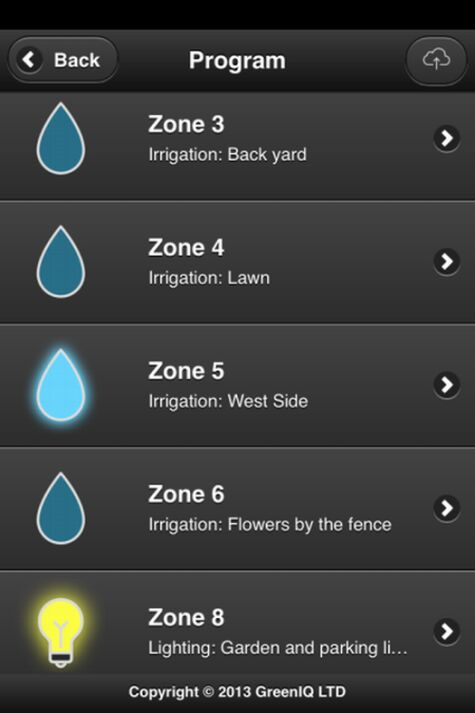 Each zone of the garden can be controlled separately.