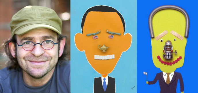 Piven with two of his works. Can you guess which leaders they are?