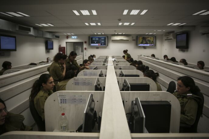 A call center of the Home Front Command, in the central Israeli city of Ramla, July 17, 2014. Photo by Hadas Parush/FLASH90