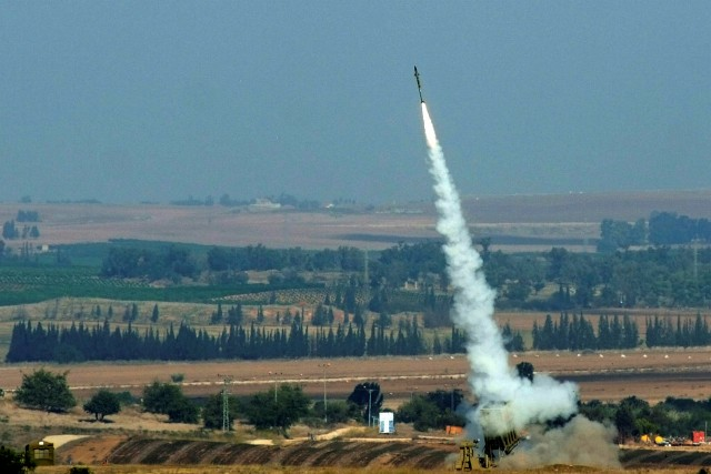 A missile from the Iron Dome is fired in response to rocket attack from Gaza. Photo by Flash90.