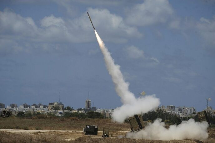 The Iron Dome in action – missiles intercepting other missiles while flying. Photo by Flash90.