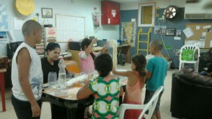 Green Horizons counselors do activities with children in bomb shelters such as this one in Beersheva.