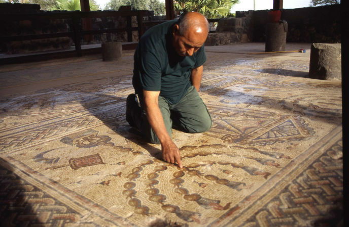 A partially restored mosaic floor in Tiberias. Photo courtesy Israel Tourism Ministry.