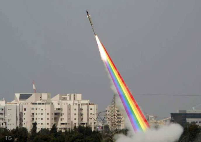Tom Gott's doctored photo of an Iron Dome interception adds a touch of Tel Aviv gay pride.