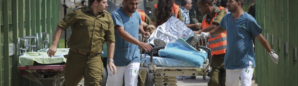 Wounded soldiers arriving at Soroka Medical Center in Beersheva on Tuesday. Photo by Hadas Parush/Flash90