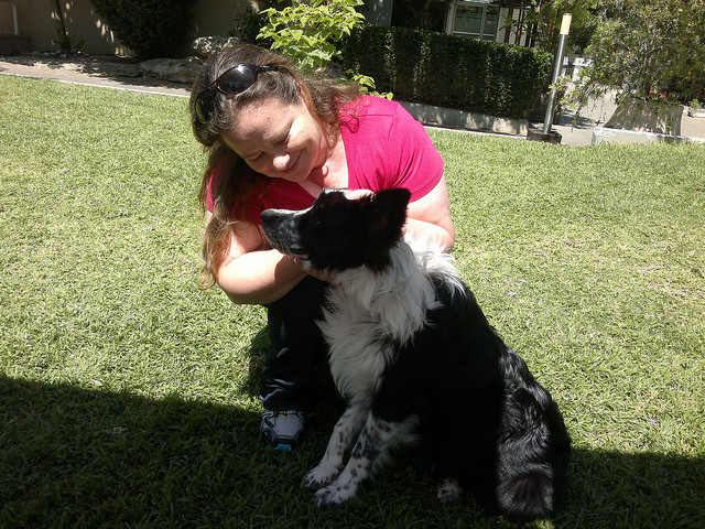 Einav Gissinger and Nelson on the final day of the dog therapy course at Broshim. Photo by Abigail Klein Leichman.