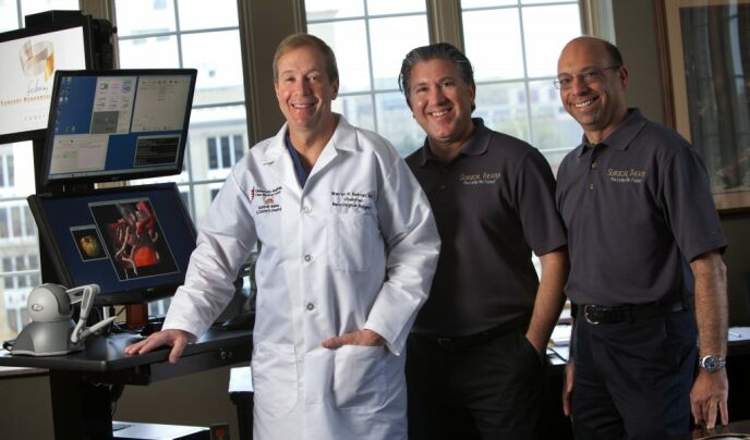 Dr. Warren Selman, left, with inventors Moty Avisar and Alon Geri. Photo by Keith Berr Photography