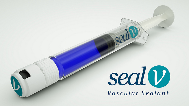Seal-V reinforces sutures in vascular surgery.