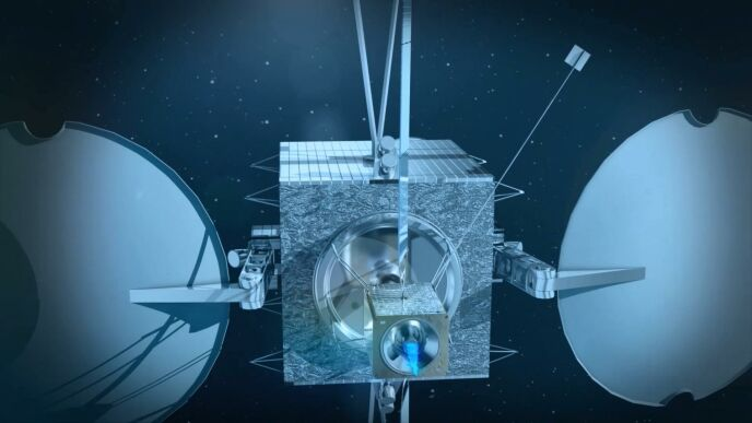 """This illustration shows the DeOrbiter 1 microsatellite attached to a much larger communication satellite after the rendezvous and docking process, and pushing it to the """"graveyard orbit."""""""