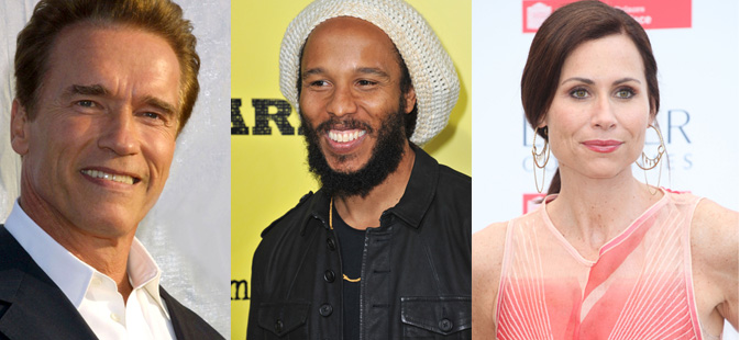 Arnold Schwarzenegger, Ziggy Marley and Minnie Driver show support for Israel. (Shutterstock.com)