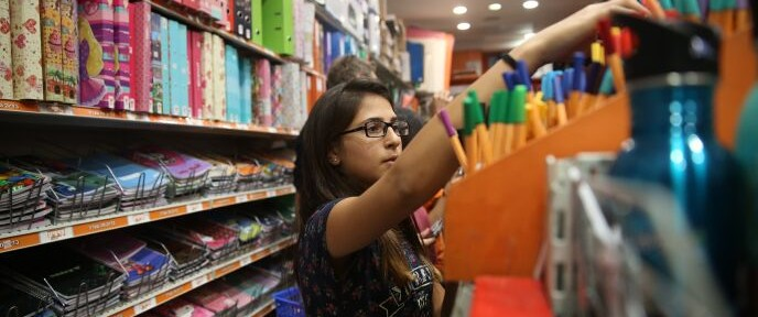 Thirteen-year-old Tal shopping for school supplies in Jerusalem on August 26, 2014. Photo by Nati Shohat/FLASH90