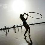 Hula hoops on Tel Aviv beach. Photo by Flash90.