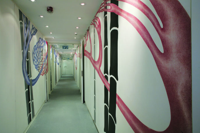 A corridor in the Artplus hotel.