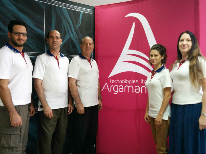Part of the Argaman crew, from left: biophysicist Edan Kenig, CFO Simcha Edell, CEO/CTO Jeffrey Gabbay, project manager Shayna Marcus, Patricia Dobin (business development).