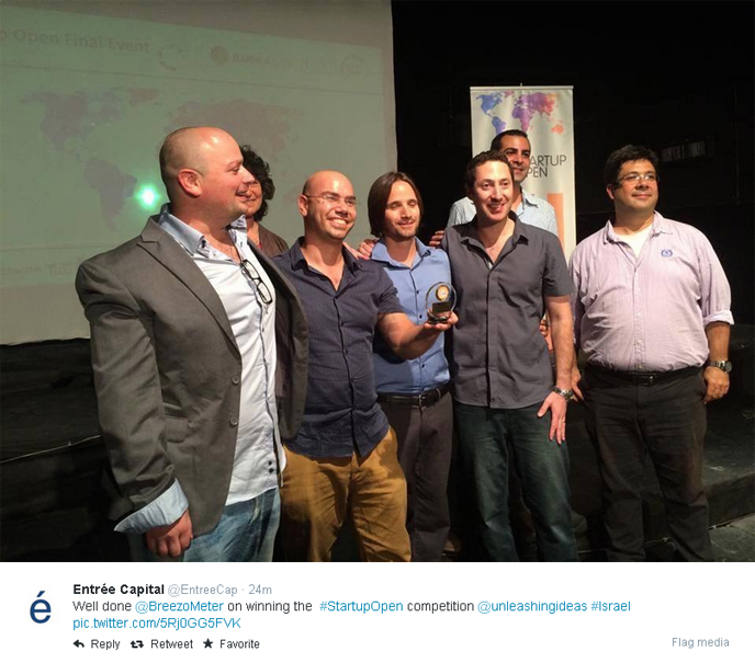 Breezometer celebrates Startup Open win. (Twitter feed)