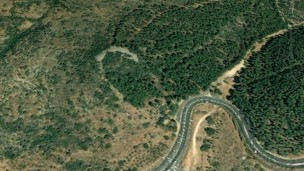 Crescent-shaped stone monument. (Google Earth Photo)