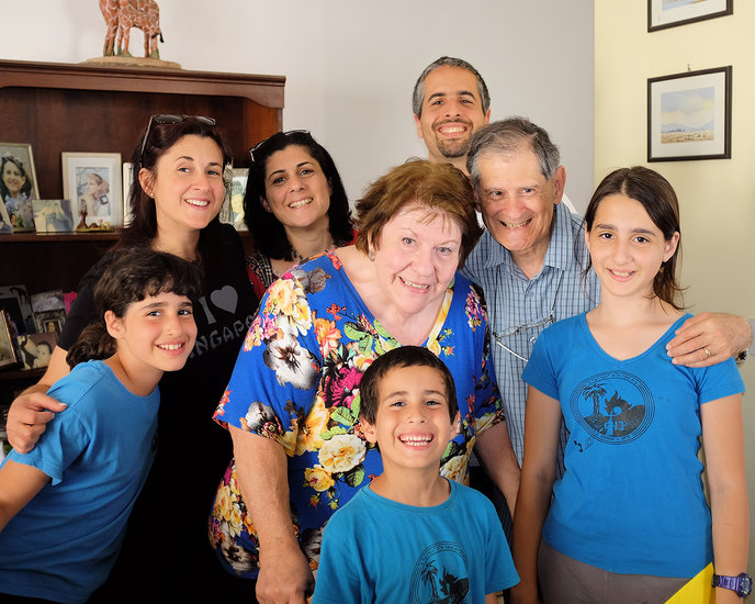 Andi and Effie Moradian, center rear, with their children and Andi's parents, June and Mel Narunsky, and Andi's sister.
