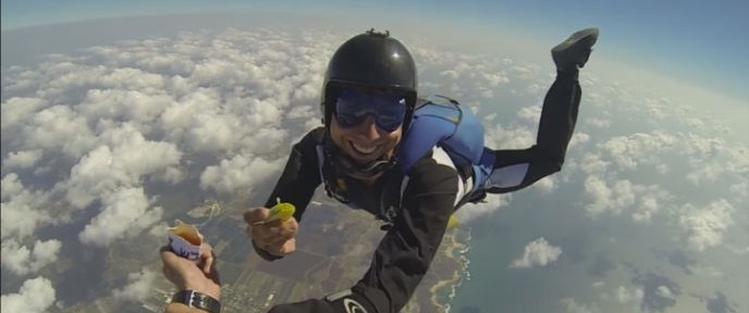 A skydiver from Paradive shows there's no shortage of imagination when it comes to finding places to celebrate Rosh Hashana.