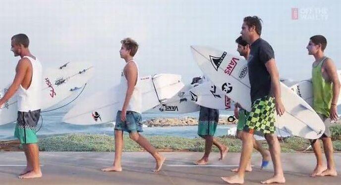 """Screenshot of """"Vans Israel Surf -- Rockets & Barrels"""" video."""