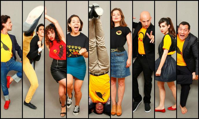 Tziporela members Efrat Aviv, Dana Ivgy, Lotus Etrog, David Golan, Omri Doron, Tomer Nahir Petluk, Ben Perry, Gal Friedman, and Tamara Klayngon.