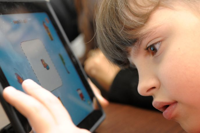 A child playing with the winning games app at Beit Issie Shapiro.