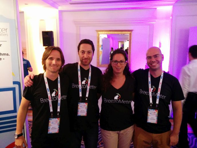 The BreezoMeter staff includes, from left, Ziv Lautman, Emil Fisher, Revital Hendler and Ran Korber.