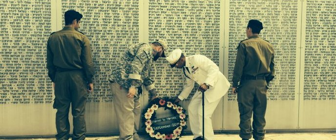 Cap and rotator: US vets Anthony and James laying a wreath at Latrun war memorial. Photo by Judy Schaffer