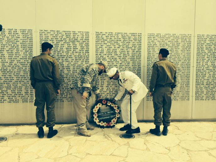 US vets Anthony and James laying a wreath at Latrun war memorial. Photo by Judy Schaffer