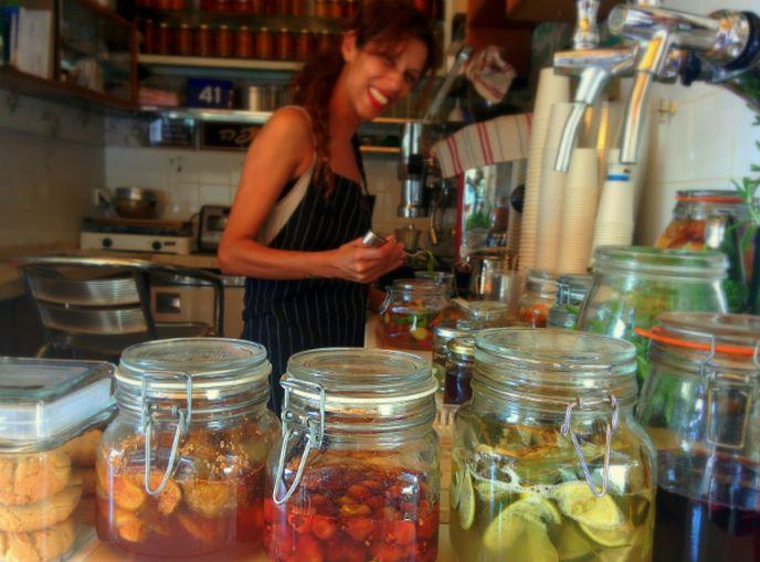 Employee Neta Maoz at Benny's Soda. Photo by Shulie Madnick