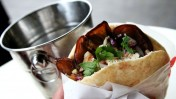 Sabich, a popular Israeli sandwich consisting of eggplant, potato, egg and tahini. Photo by Nicky Kelvin/FLASH 90