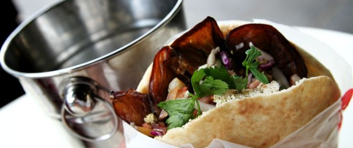 Sabich, a popular Israeli sandwich consisting of eggplant, potato, egg and tahini. Photo by Nicky Kelvin/FLASH 90