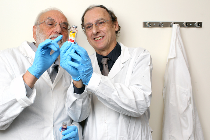 Prof. Yechezkel Barenholz and Prof. Alberto Gabizon of the Faculty of Medicine developed Doxil, an anti-cancer drug approved for the treatment of Kaposi's sarcoma, ovarian cancer, multiple myeloma and breast cancer.  (Photo by Nati Shohat/Flash90)