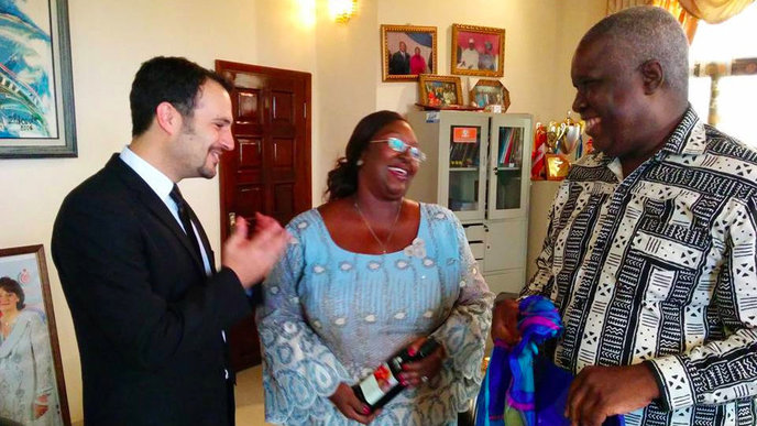 IsraAID's Yotam Polizer, left, with Sierra Leone First Lady Sia Nyama Koroma and policy adviser Sam Bangura. Photo courtesy of IsraAID.