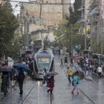 Rain swept through downtown Jerusalem on November 3, 2014. (Yonatan Sindel/Flash90)