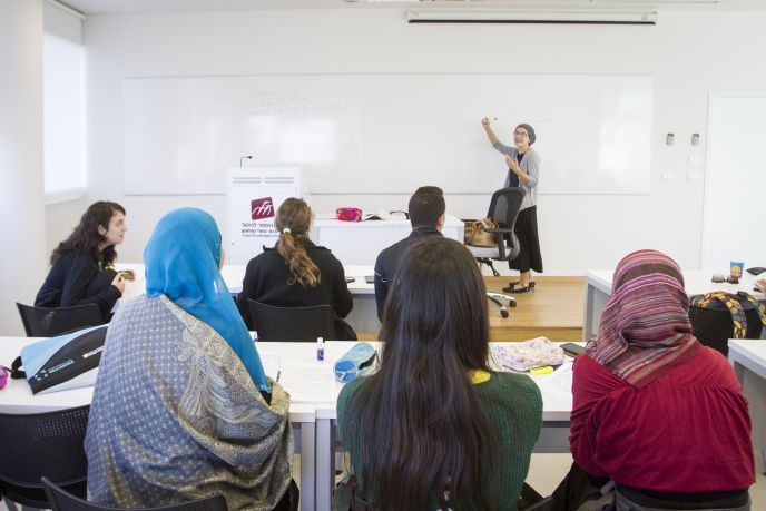 A typical classroom scene at the Solomon School of Management. Photo courtesy of UJIA