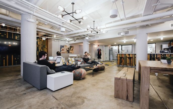 The lounge inside WeWork's Boston office.